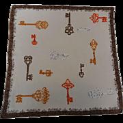 Hanky Hankie Handkerchief Vintage 1950s Skeleton Keys Mid Century Modern Cotton Hand Rolled