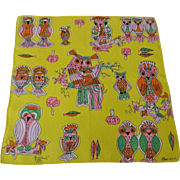 Owl Hanky Hankie Handkerchief Vintage 1960s Psychedelic Signed Monique Hippie Cotton