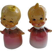 Kitsch Baby Girl Salt Pepper Shakers Vintage 1950s Tilso Japan Hand Painted