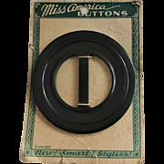 Large Green Bakelite Belt Buckle Vintage 1940s Miss America Buttons Dead Stock Translucent Scarf Clip