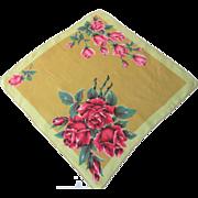Vintage 1950s Rose Handkerchief Floral Hanky Hankie