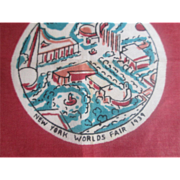 1939 New York Worlds Fair Hanky Hankie Souvenir Trade Buildings - Red Tag Sale Item