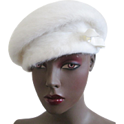 White Angora Rabbit Fur Hat Vintage 1960s Kangol Made In England