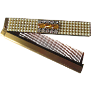 Compact Jeweled Folding Comb Vintage 1950s Faux Pearl Amber Rhinestone Vanity