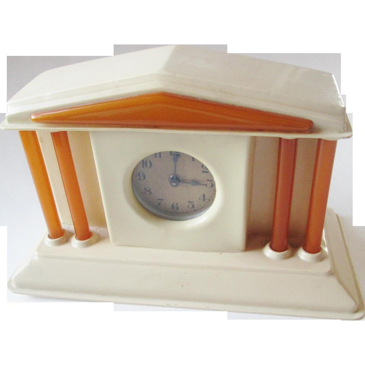 art deco lux clock bakelite celluloid vintage 1930s