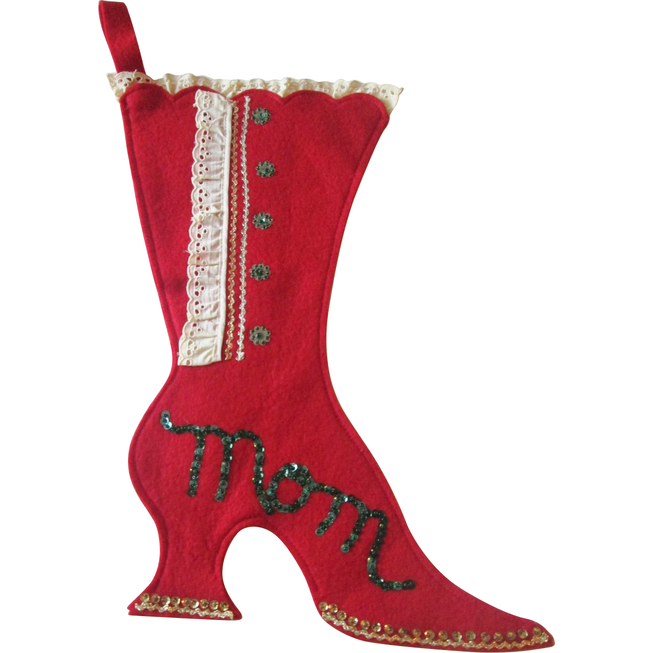 Kitsch Christmas Stocking Mom Vintage 1950s Red Felt Victorian ...
