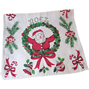 Kitsch Christmas Towel Vintage 1950s Santa Claus Holiday Linen Kitchen Textile