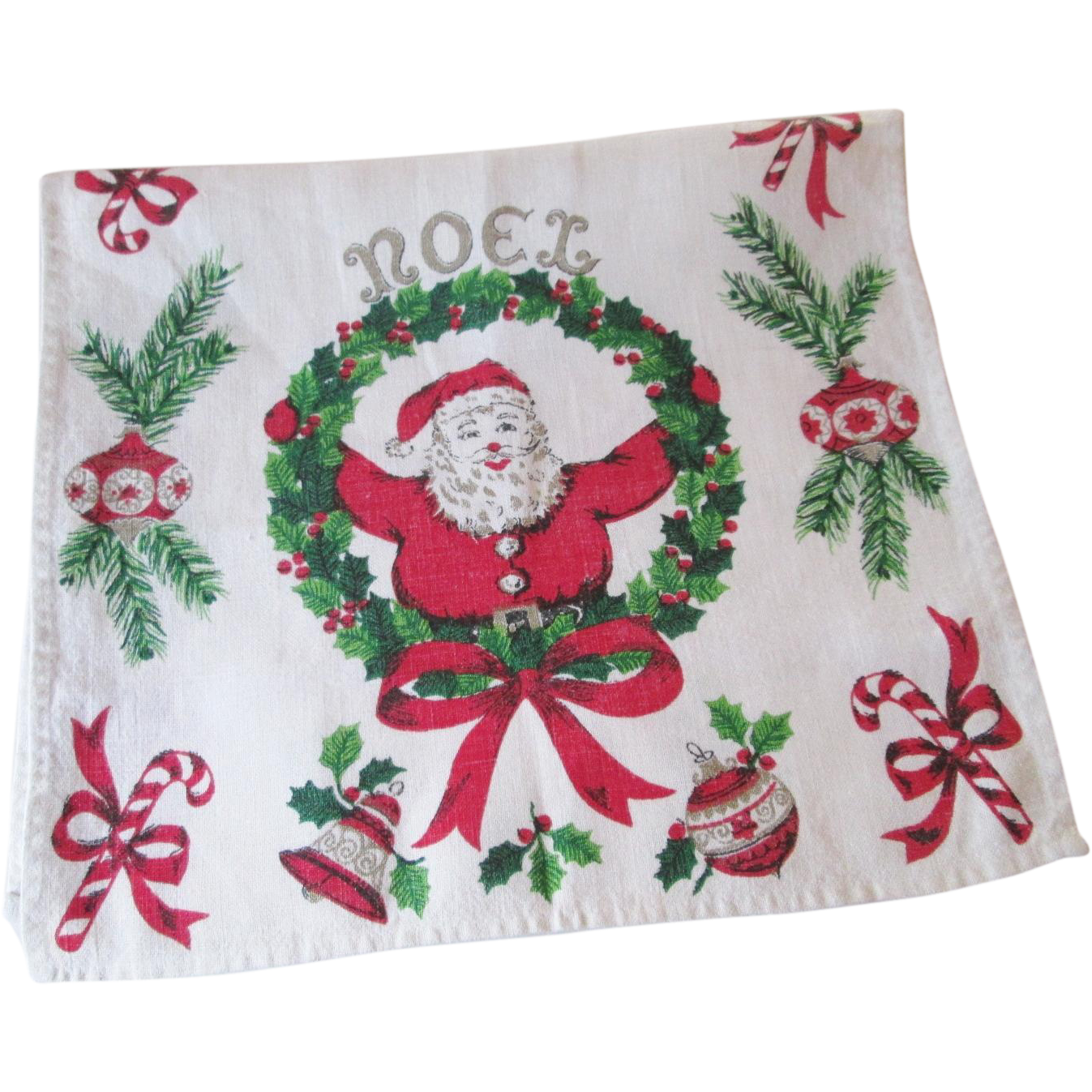 Lot Of 5 Vintage Christmas Decorations Kitsch Santa Claus: Kitsch Christmas Towel Vintage 1950s Santa Claus Holiday