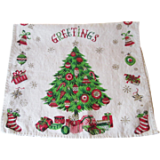 Christmas Tree Towel Vintage 1950s Kitsch Linen Kitchen Textile Greetings Presents