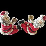 Santa Claus Vintage 1950s Paper Mache Candle Holders Japan Kitsch Excellent Condition