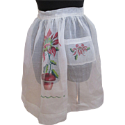 Christmas Poinsettia Apron Vintage 1950s Sheer White Hostess Cocktail Holiday Party Accessory
