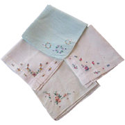 Petit Point Hankies Vintage 1940s Embroidery Mixed Lot 4