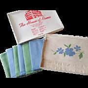 Deadstock Ramie Linen Placemat Napkin Set Vintage 1950s Applique Flowers