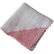 Irish Linen Hanky Hankie Vintage 1940s Pink Crocheted Lace Heart Valentine's Day NWT