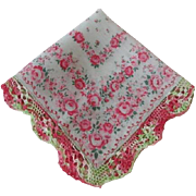 Vintage 1950s Hanky Hankie Red Roses Crocheted Lace Valentine's Day Gift
