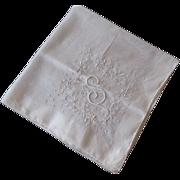 Hanky Hankie Vintage 1940s S Monogram Embroidery Gauze Cotton
