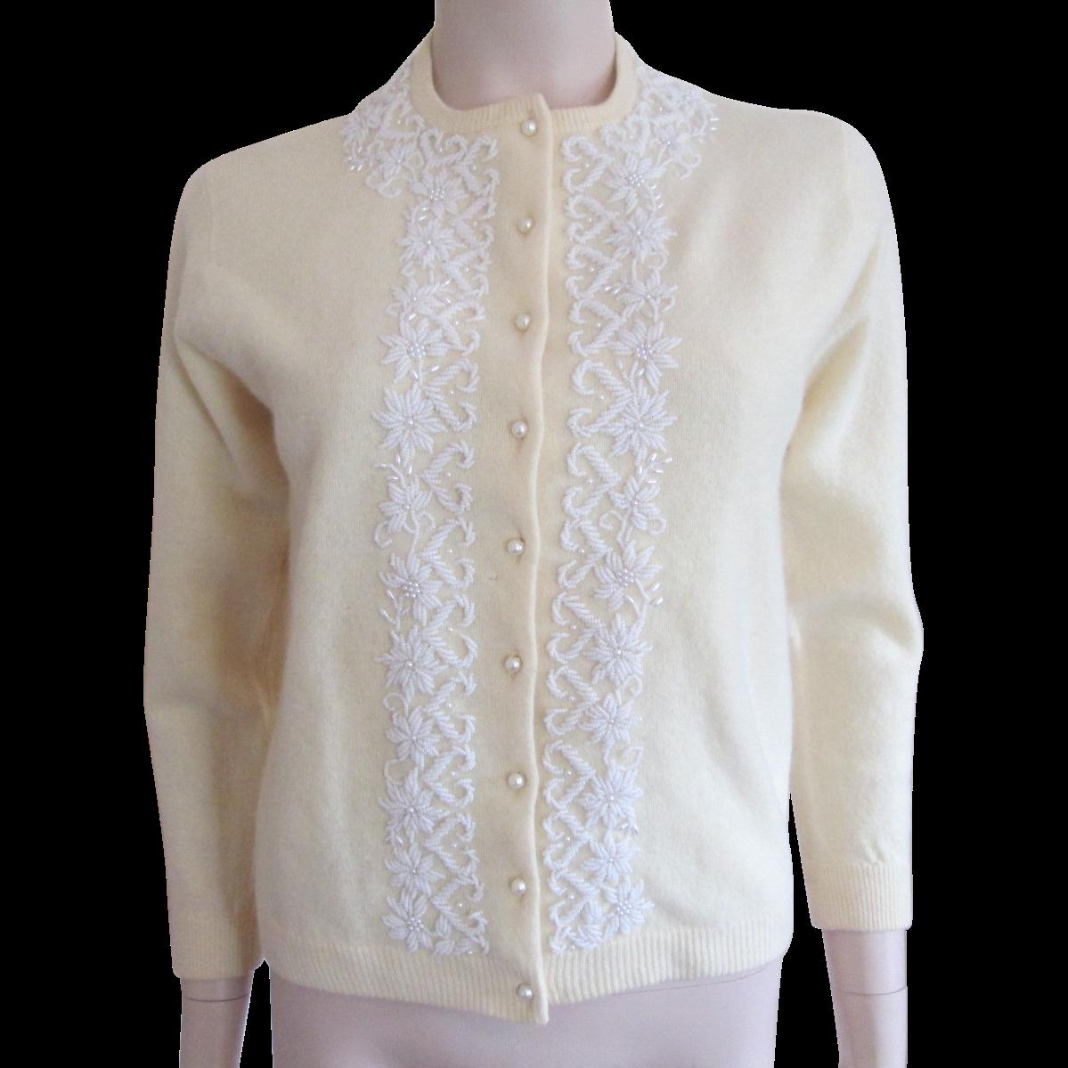 Beaded Cashmere Angora Sweater Vintage 1950s Yellow White Hong ...