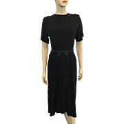Black Rayon Vintage 1940s Dress Bow Belt