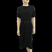 Black Rayon Vintage 1940s Dress Bow Belt