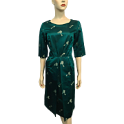 Silk Asian Brocade Wiggle Dress Vintage 1950s Teal Green Bombshell Modes Hong Kong