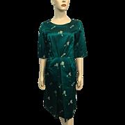 Silk Asian Brocade Wiggle Dress Vintage 1950s Teal Green Bombshell Modes Hong Kong