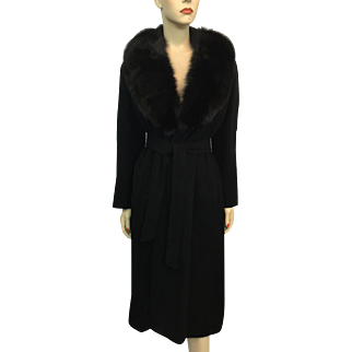 Black Cashmere Rabbit Fur Wrap Coat Vintage 1940s Old Hollywood Glam Womens Outerwear Winter