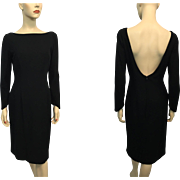 Black Wool Bombshell Dress Vintage 1950s Low Back LBD