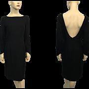 Black Wool Bombshell Dress Vintage 1950s Low Back LBD