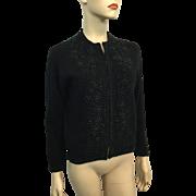 Black Angora Lambs Wool Sweater Vintage 1950s Heavily Beaded Cardigan