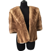 Vintage 1950s Mink Fur Stole Honey Brown