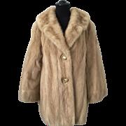 Mod Blonde Mink Fur Coat Vintage 1960s Lucite Buttons