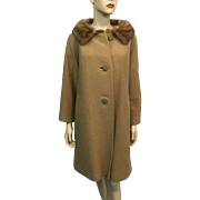 Mod Mink Wool Boucle Coat Vintage 1960s Jackie O Camel Honey Brown