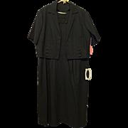 Deadstock Vintage 1950s Wiggle Suit Dress Bolero Jacket NWT Wynette Black Sage Green XL