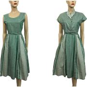 Swing Dress Bolero Jacket Vintage 1950s Green White Stripe Polished Cotton Suit Set
