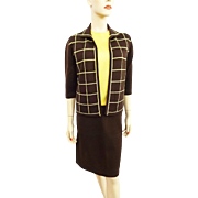 Womens Vintage 1960s 3 Piece Skirt Suit Jacket Shell Brown Yellow Stage 7