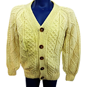 Mens Irish Fisherman Sweater Vintage 1960s Cardigan Handknit Loch Garman