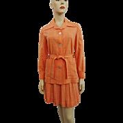 Halls Orange Linen Skirt Suit Vintage 1970s Belted Jacket Pleated Skirt