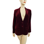 Deep Red Velvet Blazer Jacket Vintage 1970s Womens Woolf Brothers