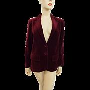 Deep Red Velvet Blazer Jacket Vintage 1970s Womens Woolf Brothers