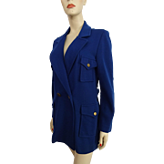 Vintage 1950 Womens Blue Jacket Military Style Orlon Acrylic Softstar Knitwear
