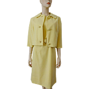 Vintage 1950s Yellow Cashmere Wiggle Dress Bolero Jacket Suit