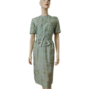 Vintage 1950s Silk Toile Wiggle Dress Sage Green