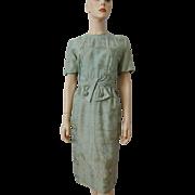 Vintage 1950s Silk Toile Wiggle Dress Sage Green