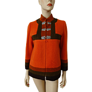 Mod Wool Womens Jacket Vintage 1970s Orange Fall Colors Color Block Norwegian