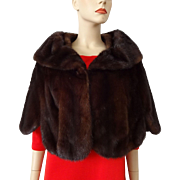 Dark Chocolate Brown Vintage 1950s Mink Fur Stole Jacket