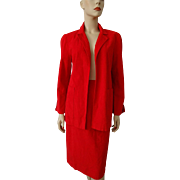 Holiday Red Ulstrasuede Womens Skirt Suit Jacket Vintage 1980s Designer Samuel Robert By Peter Hatsi Androu Christmas