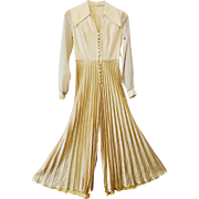 Vintage 1970s Gold Lame Disco Jumpsuit Pleated Wide Leg Pointed Collar Holiday Party