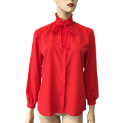 Pendleton Red Bow Neck Poet Blouse Vintage 1980s Country Sophisticates