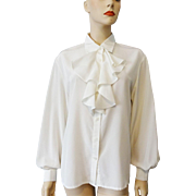 Womens White Bow Neck Blouse Ascot Vintage 1980s Liz Claiborne Larger Size