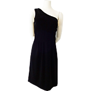 Black Velvet Dress Vintage 1980s One Shoulder Salesman Sample